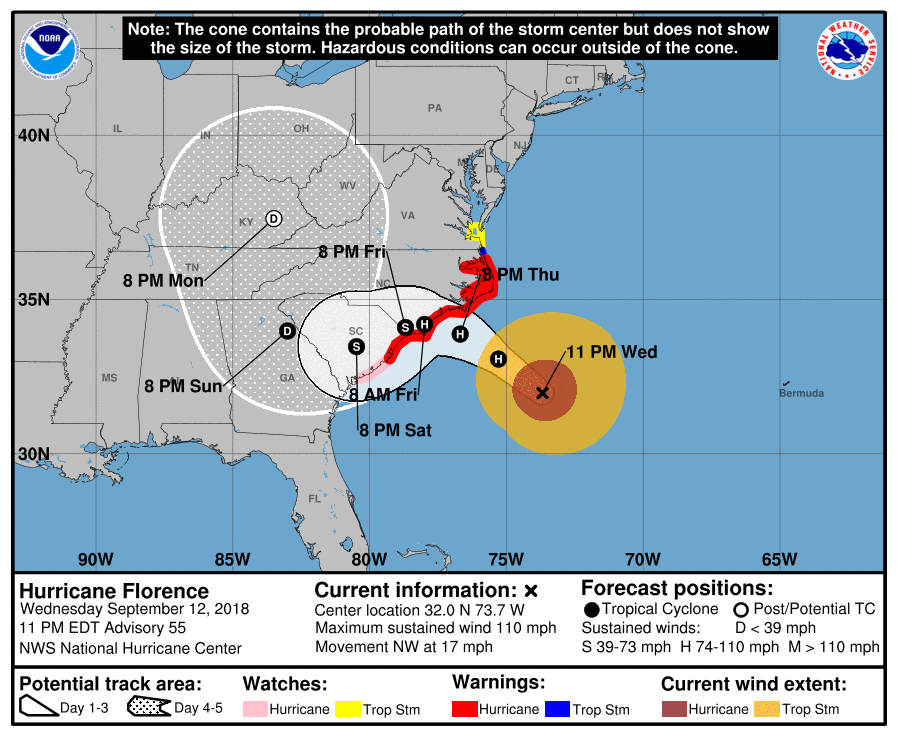 11PM Sep 12 NHC Advisory Cone For Florence TropicalWeather