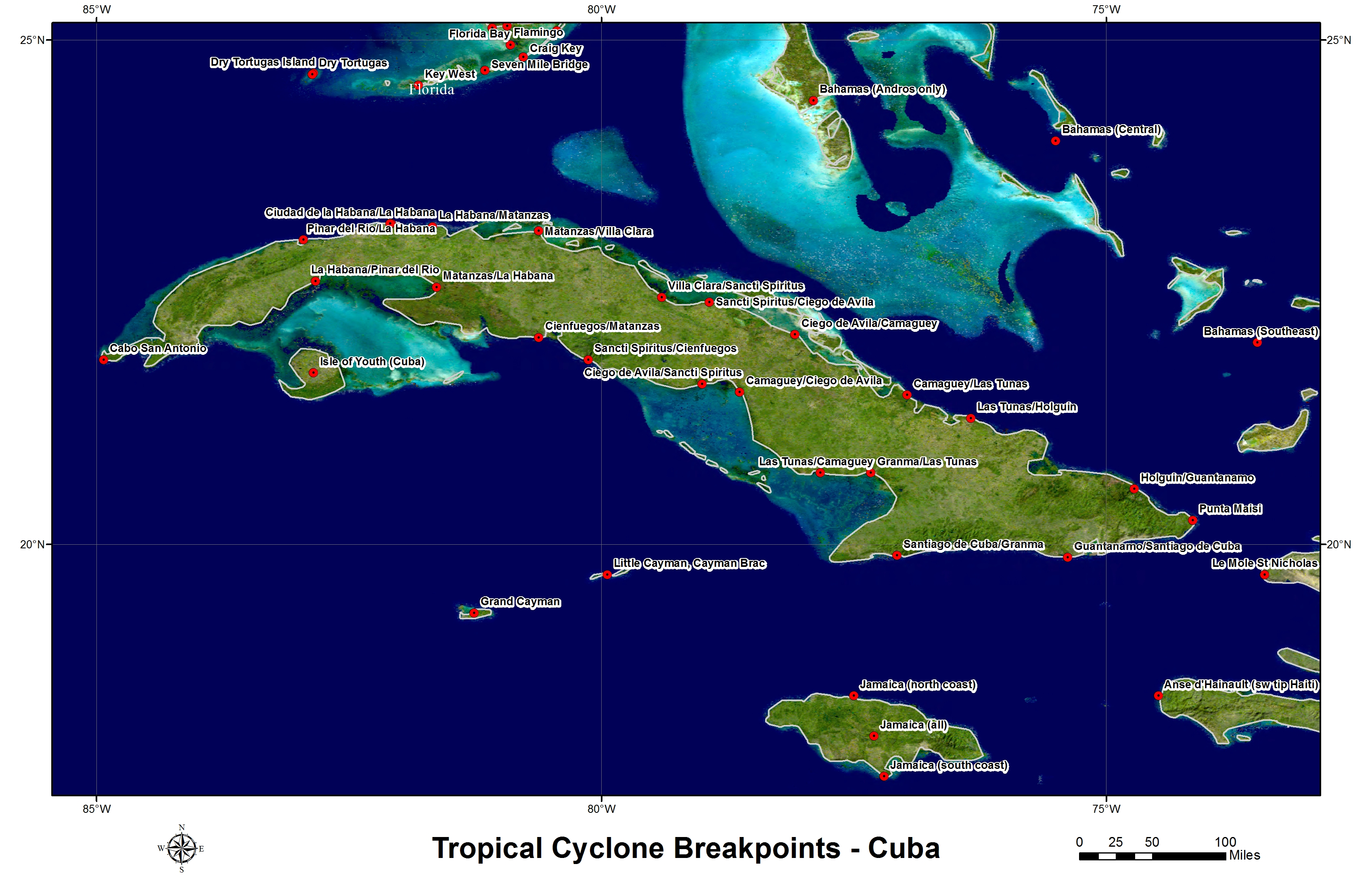Hurricane And Tropical Storm WatchWarning Breakpoints - Map of cuba and southeast us