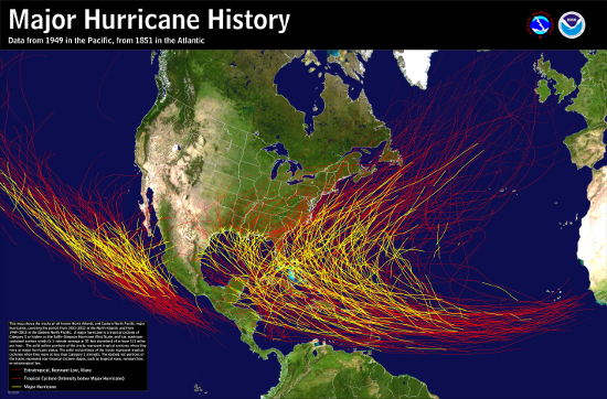 All North Atlantic and Eastern North Pacific major hurricanes (at least Category 3 on the Saffir-Simpson Hurricane Scale)