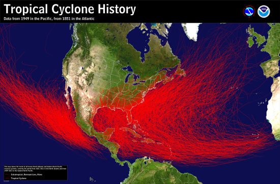 [Tropical Cyclone History Map for Atlantic and Eastern Pacific]
