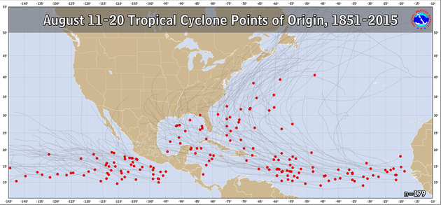 August 11-20 Tropical Cyclone Genesis Climatology