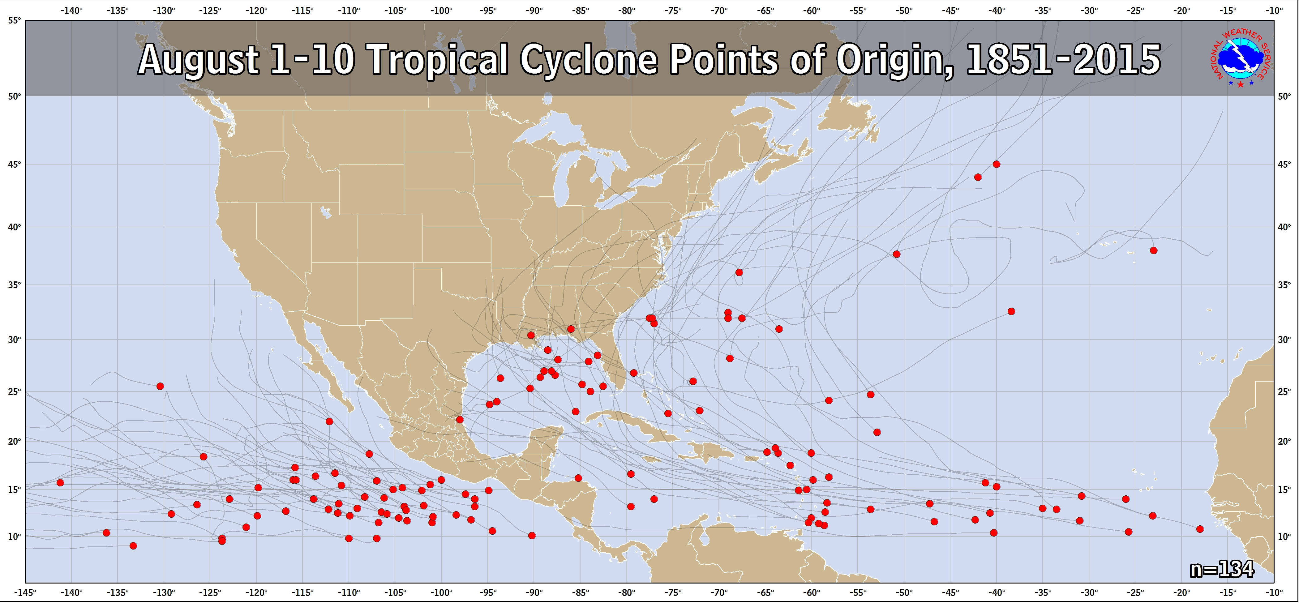 Tropical Cyclone Climatology - August 1