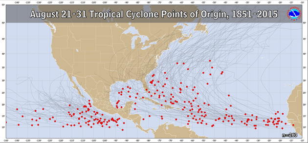 August 21-31 Tropical Cyclone Genesis Climatology