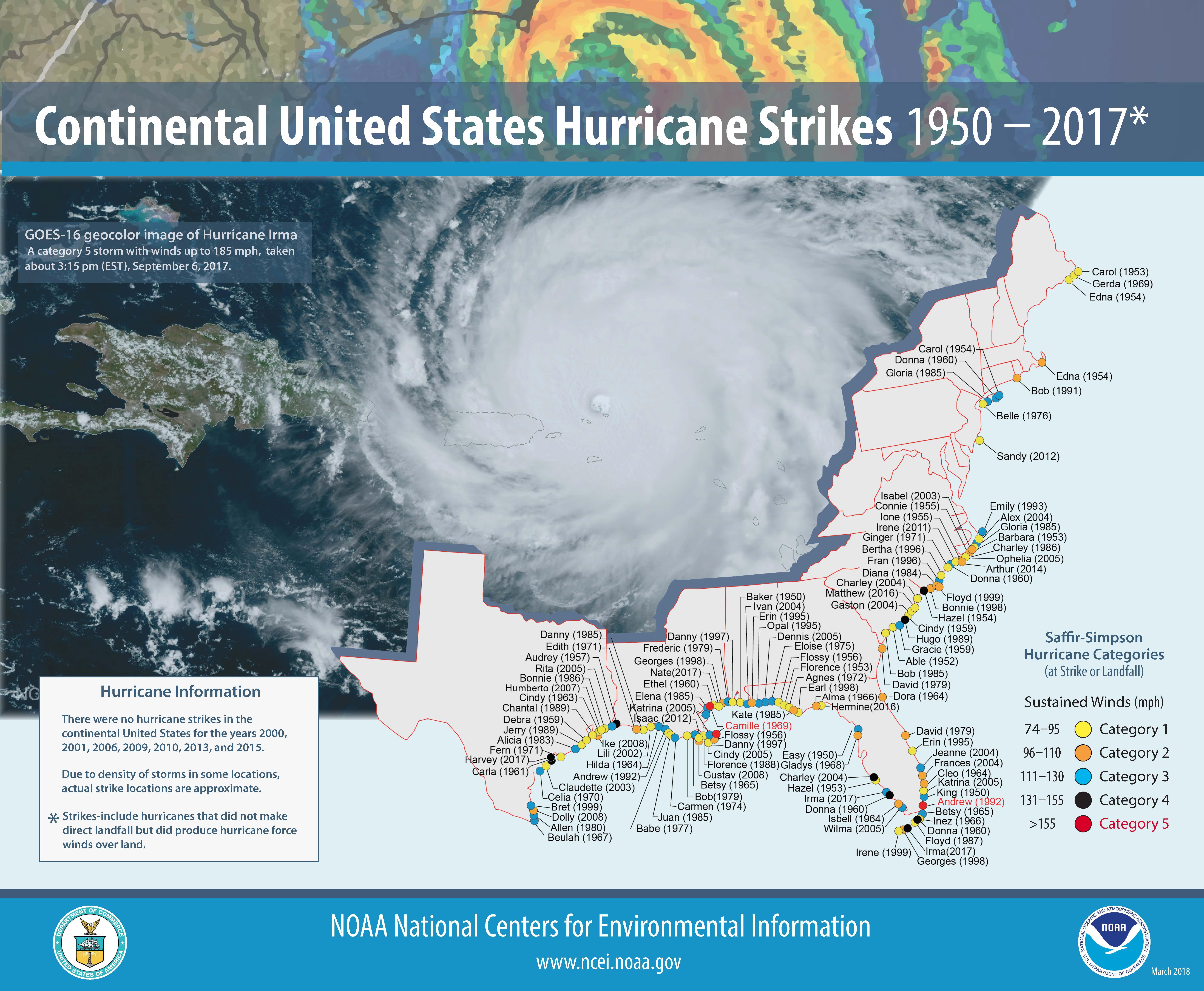 [Map of 1950-2017 CONUS Hurricane Strikes]