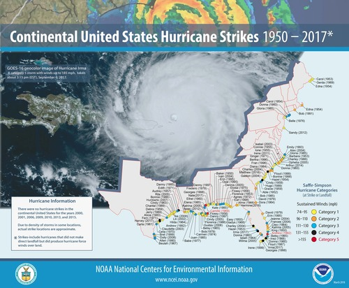 [Map of 1950-2017 CONUS Hurricane Strikes]
