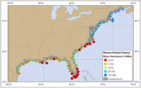 [Map of return period in years for major hurricanes passing within 50 nautical miles]