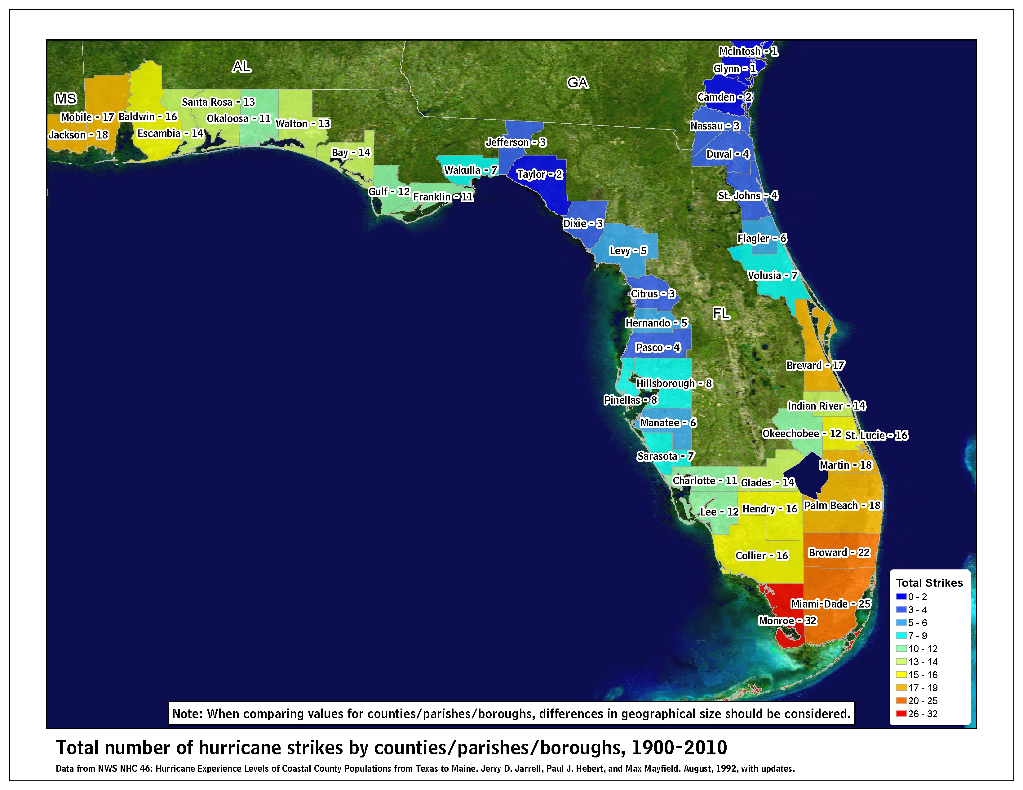 map of 1900 2010 hurricane strikes by u s counties parishes east gulf