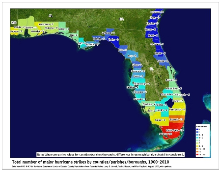 [Map of 1900-2010 Major Hurricane Strikes by U.S. counties/parishes (East Gulf)]