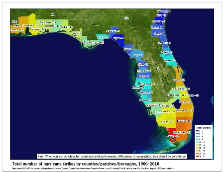 [Map of 1900-2010 Hurricane Strikes by U.S. counties/parishes (East Gulf)]