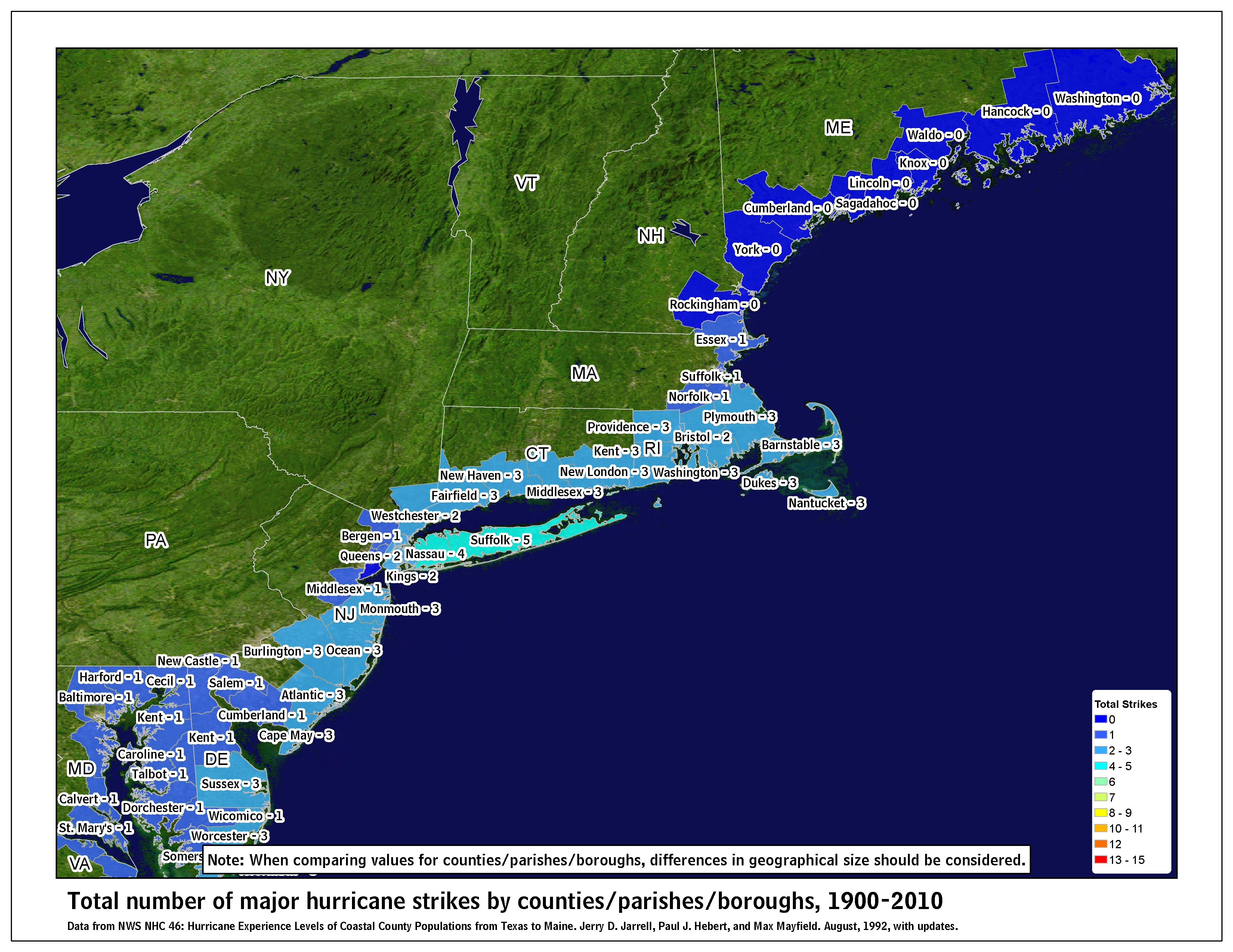 map of 1900 2010 major hurricane strikes by u s counties parishes northeast