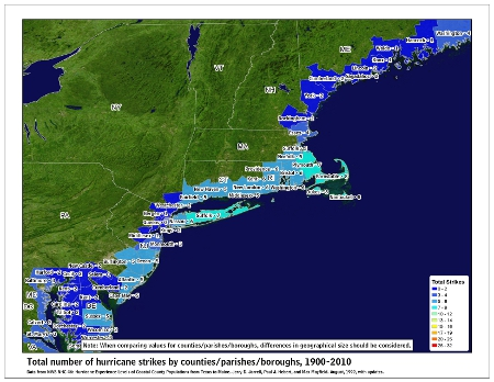 [Map of 1900-2010 Hurricane Strikes by U.S. counties/parishes (Northeast)]
