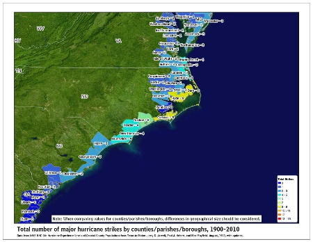 [Map of 1900-2010 Major Hurricane Strikes by U.S. counties/parishes (Southeast)]