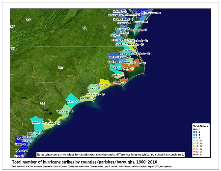 [Map of 1900-2010 Hurricane Strikes by U.S. counties/parishes (Southeast)]