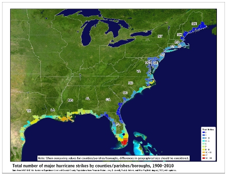 [Map of 1900-2010 Major Hurricane Strikes by U.S. counties/parishes]