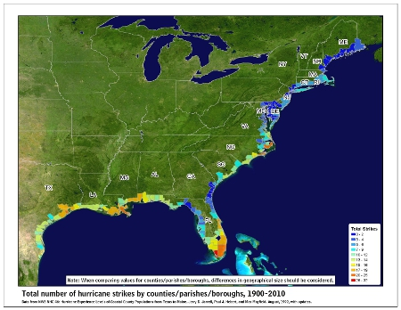 [Map of 1900-2010 Hurricane Strikes by U.S. counties/parishes]