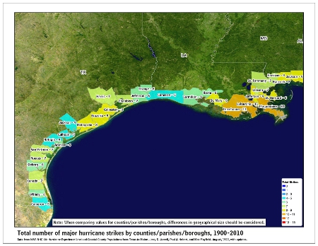 [Map of 1900-2010 Major Hurricane Strikes by U.S. counties/parishes (West Gulf)]