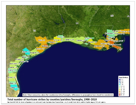 [Map of 1900-2010 Hurricane Strikes by U.S. counties/parishes (West Gulf)]