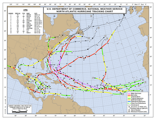 1996 Atlantic hurricane season track map