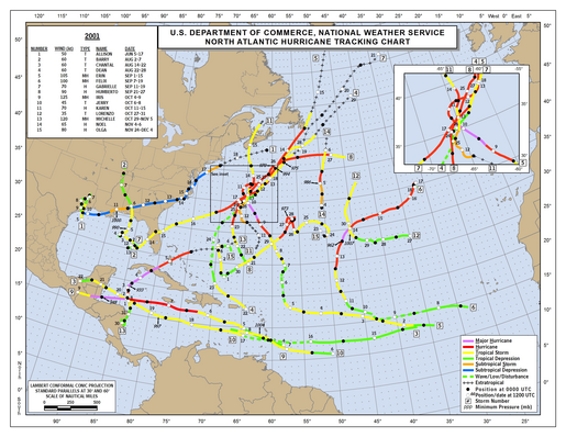 2001 Atlantic hurricane season track map