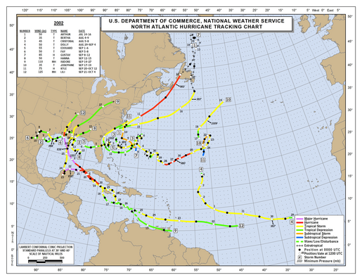 2002 Atlantic hurricane season track map