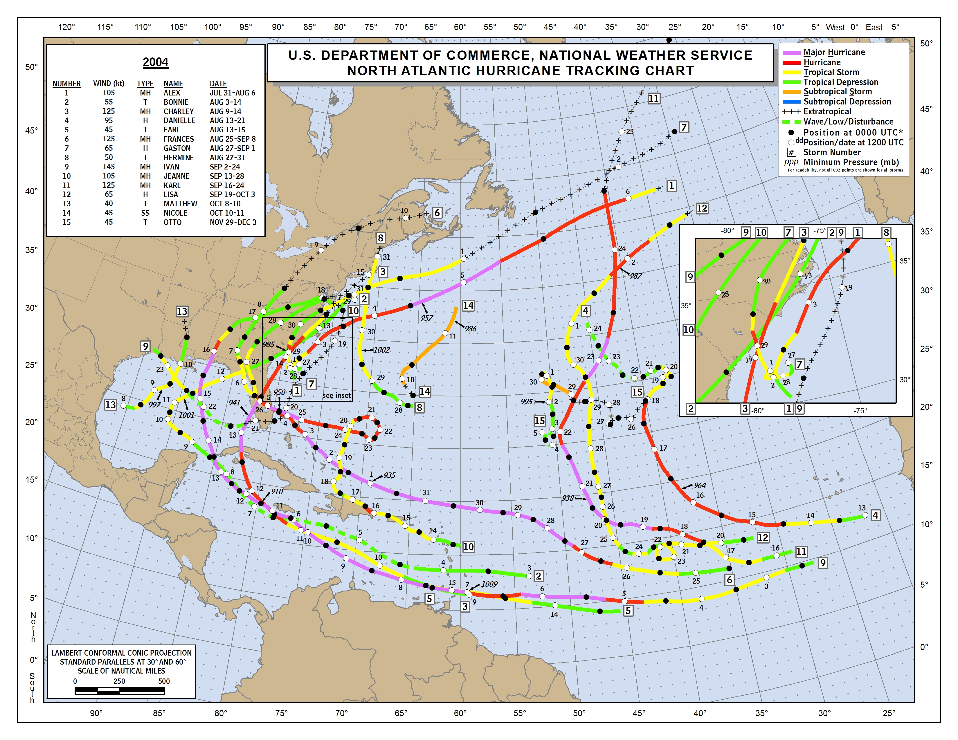 "Amazon.com: ""Map Poster - Atlantic hurricane tracking ...  |Atlantic Hurricane Tracking Map"
