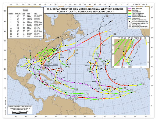 2004 Atlantic Hurricane Season Track Map