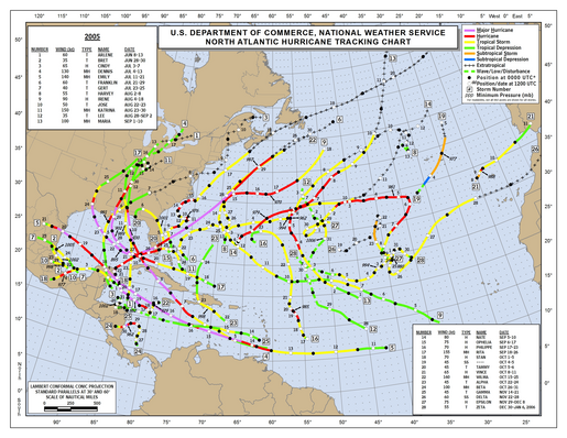 2005 North Atlantic Hurricane Season Track Map