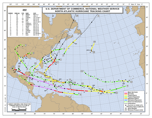 2007 Atlantic Hurricane Season Track Map