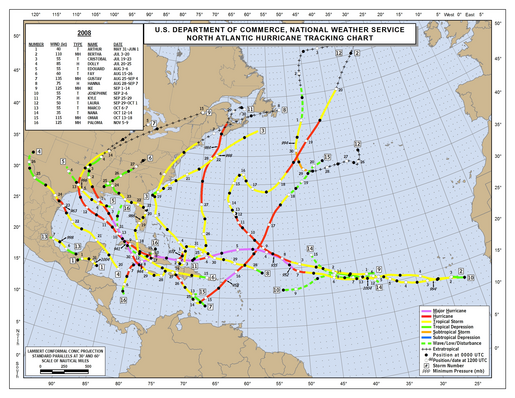 2008 North Atlantic Hurricane Season Track Map