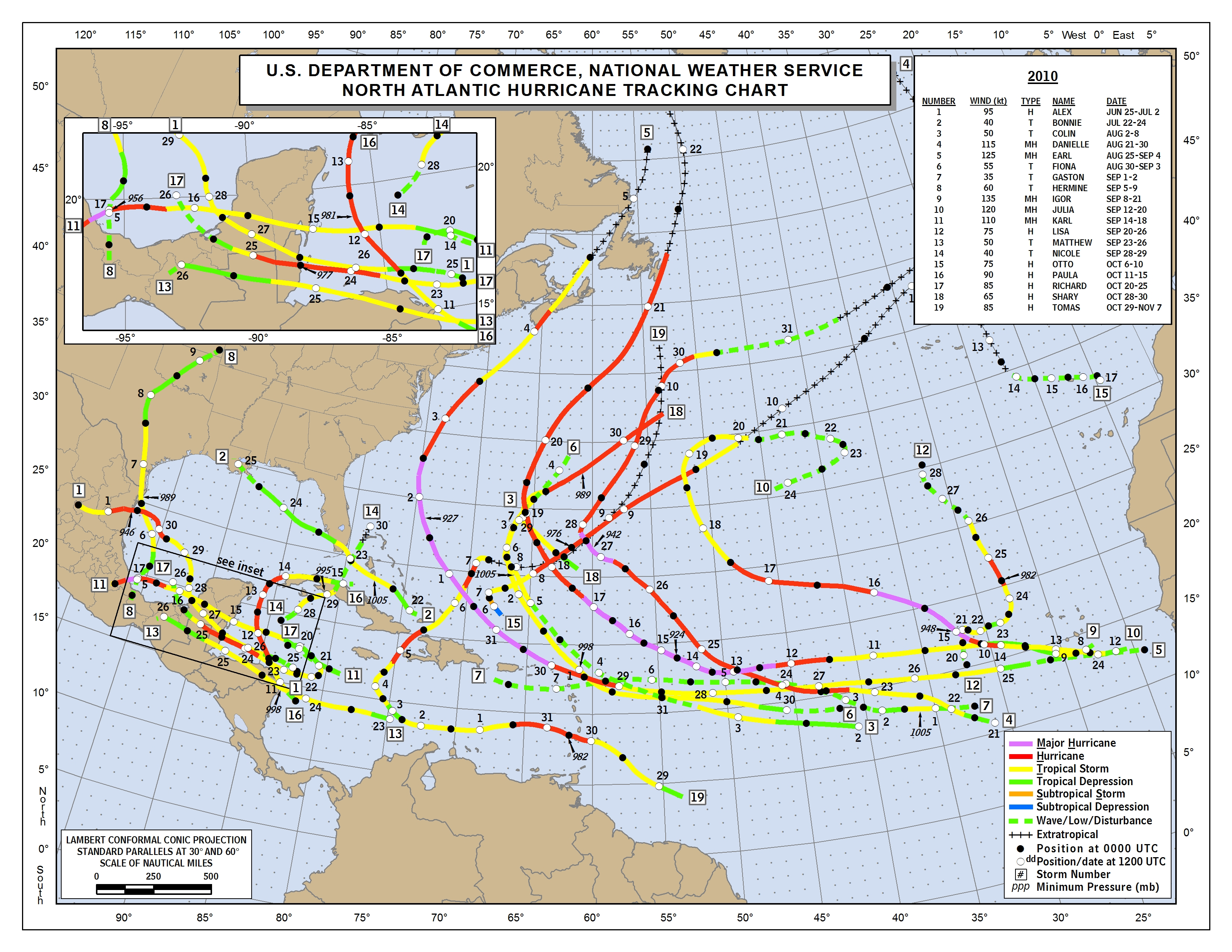 NHC Data Archive - Map of us hurricanes