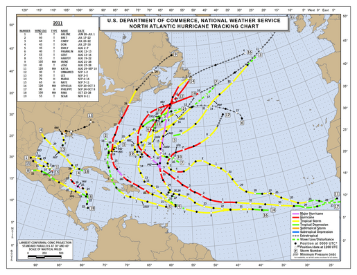 2011 North Atlantic Hurricane Season Track Map