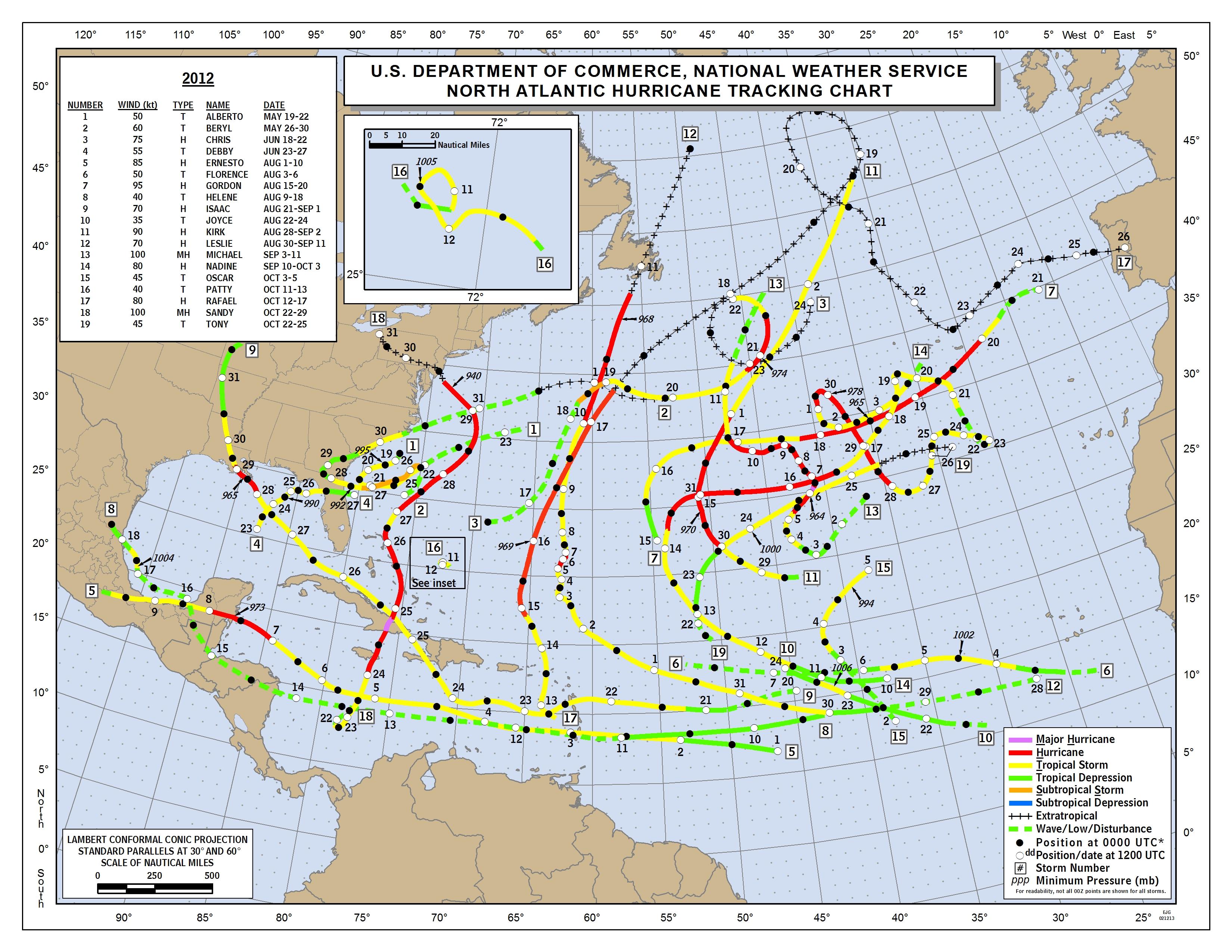 Tropical cyclone tracking chart - Wikipedia  |Atlantic Hurricane Tracking Map