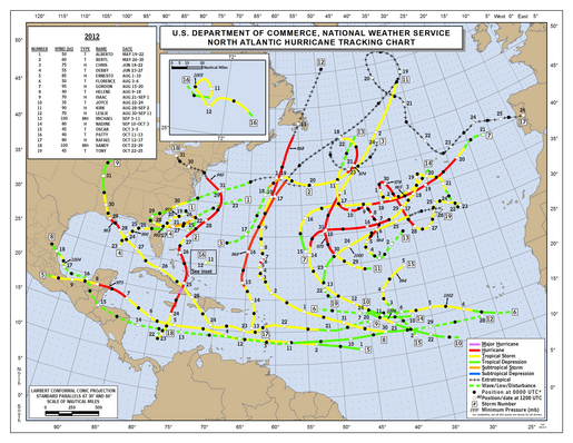 2012 North Atlantic Hurricane Season Track Map