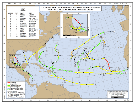 2013 Atlantic Hurricane Season Track Map