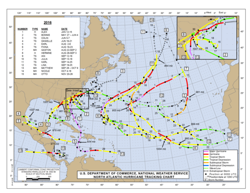 2016 North Atlantic Hurricane Season Track Map