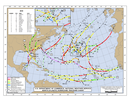 2018 North Atlantic Hurricane Season Track Map