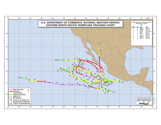 1995 Eastern North Pacific Hurricane Season Track Map