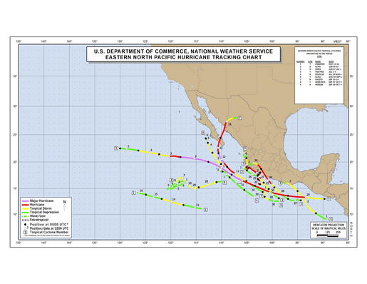 1996 Eastern North Pacific Hurricane Season Track Map