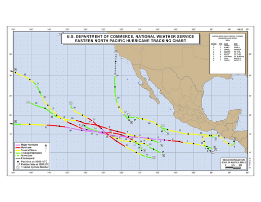1997 Eastern North Pacific Hurricane Season Track Map