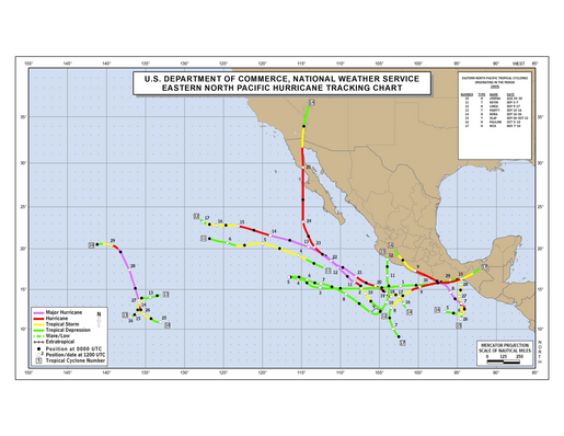1997 Eastern Pacific hurricane season track map part b