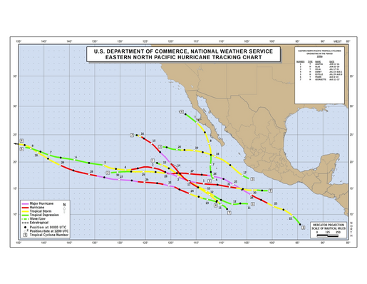 1998 Eastern North Pacific Hurricane Season Track Map