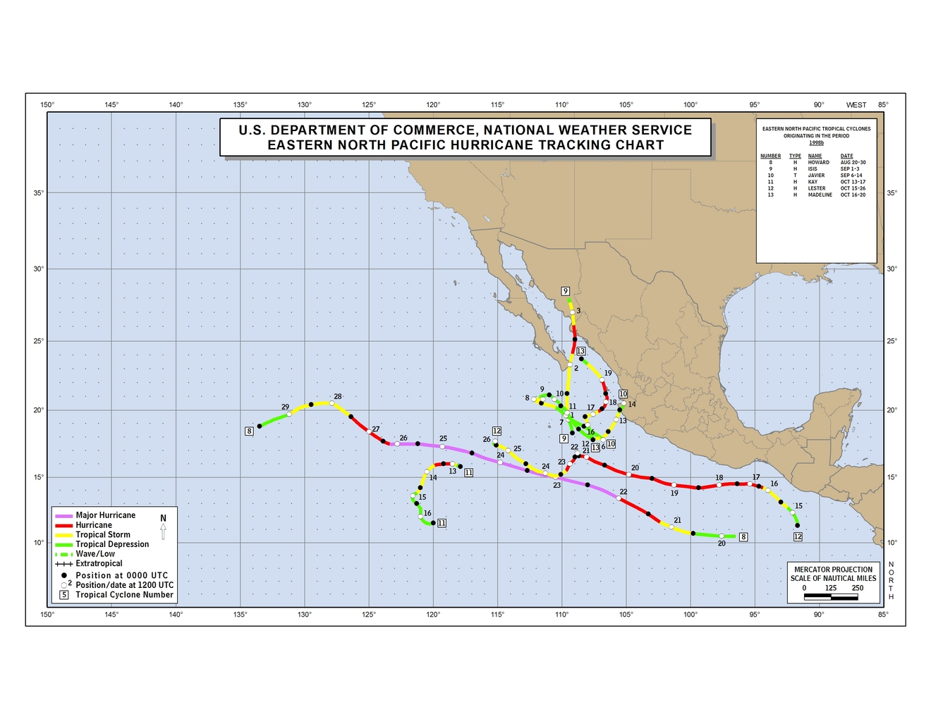 1998 Eastern Pacific hurricane season track map part b