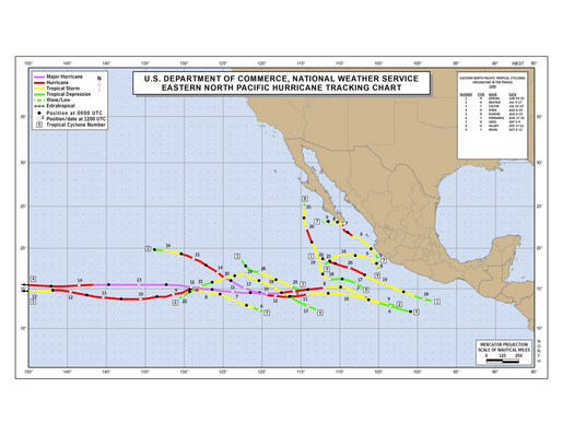 1999 Eastern North Pacific Hurricane Season Track Map
