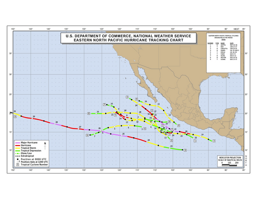 2000 Eastern North Pacific Hurricane Season Track Map