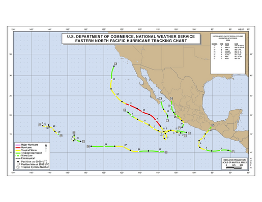 2000 Eastern North Pacific Hurricane Season Track Map Part b