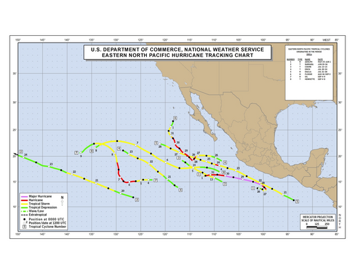 2001 Eastern Pacific hurricane season track map part a