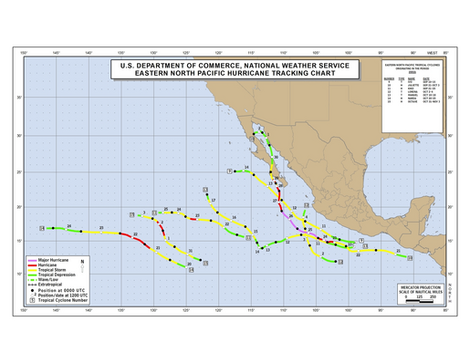 2001 Eastern Pacific hurricane season track map part b