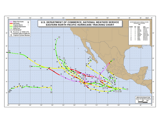 2002 Eastern North Pacific Hurricane Season Track Map