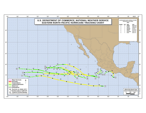 2003 Eastern Pacific Hurricane Season Track Map (part a)