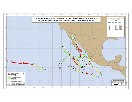 2003 Eastern North Pacific Hurricane Season Track Map Part b